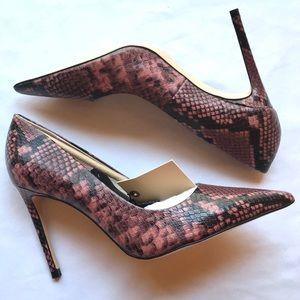 NWT Zara Basic Pointed Toe Pink Python